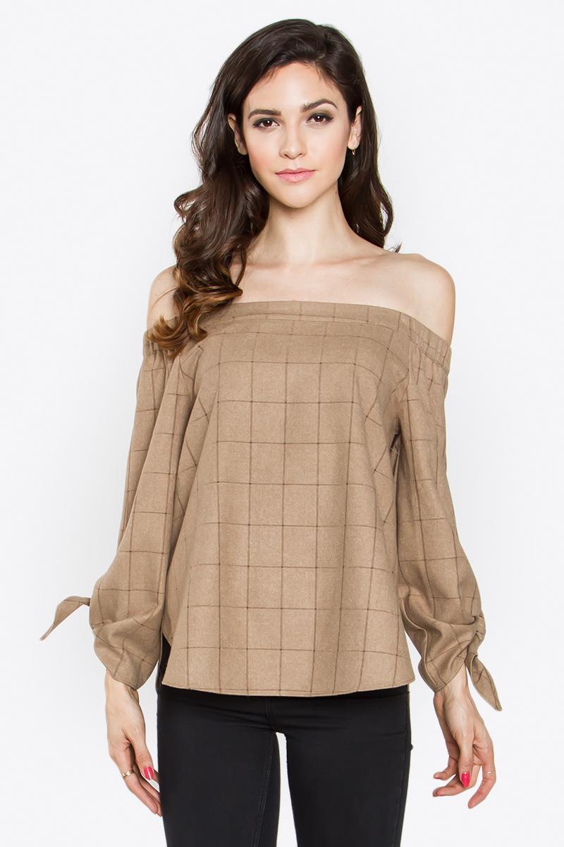 camel plaid wool off the shoulder top blue labels boutique