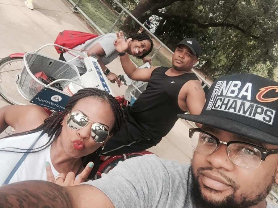 group of couples double dating on bikes