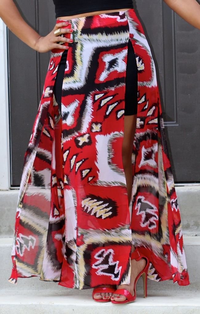 red sheer printed maxi skirt