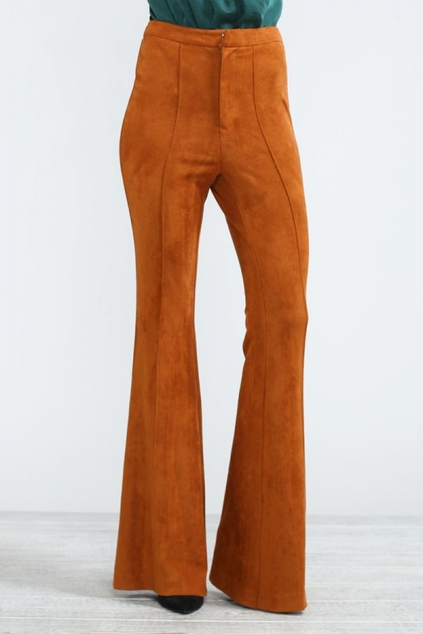 Rust colored suede flares for women