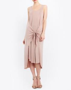 tan dress with tie front blue labels boutique