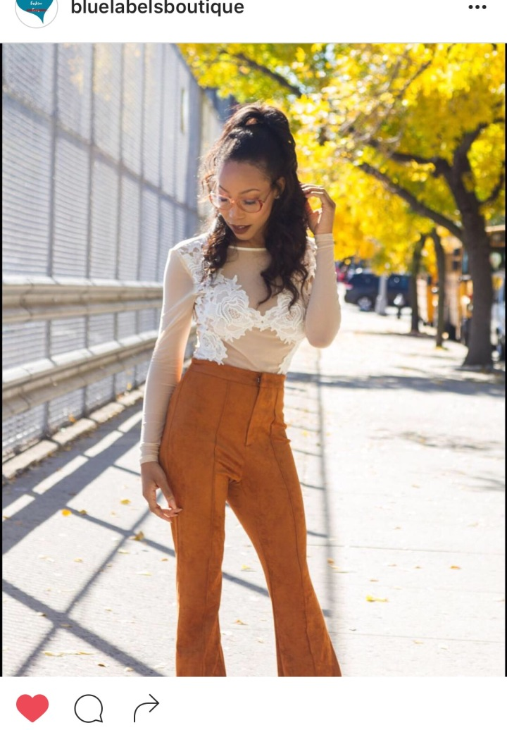 sade spence in suede flares