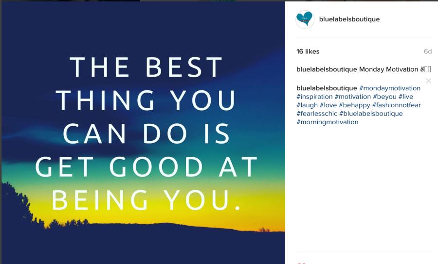 blue labels boutique on instagram