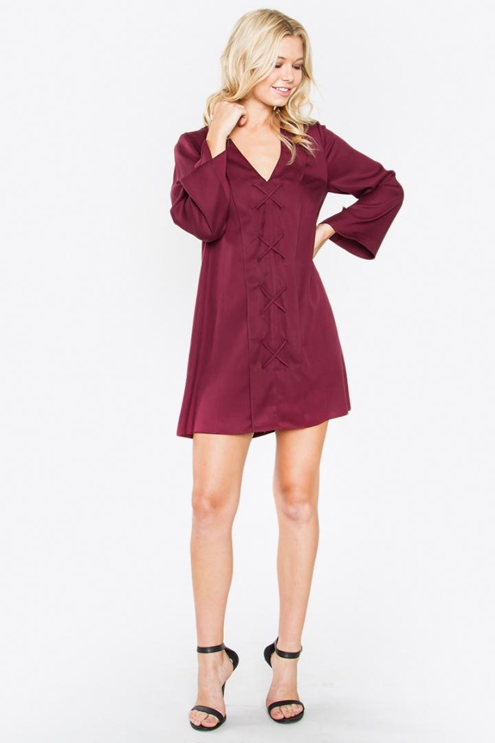 burgundy lacefront shift dress blue labels boutique