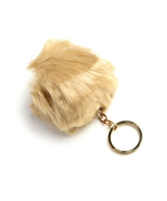 fur ball keychain blue labels boutique