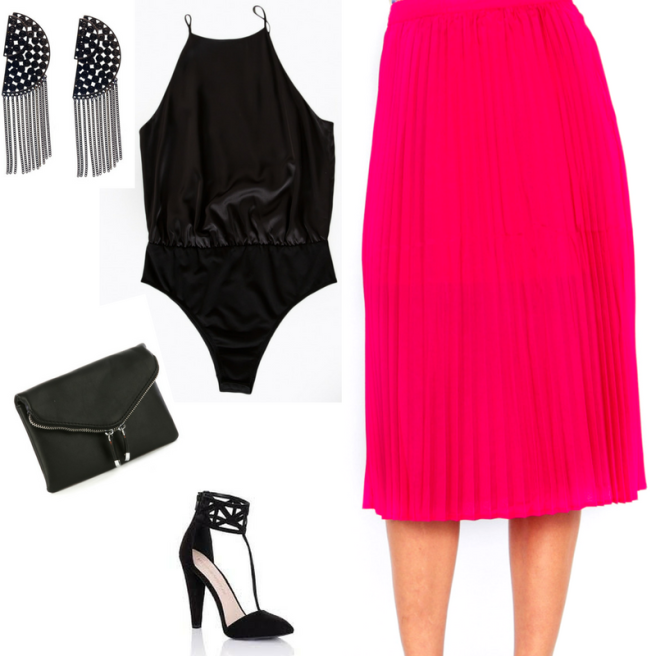 pink pleated skirt with black bodysuit blue labels boutique