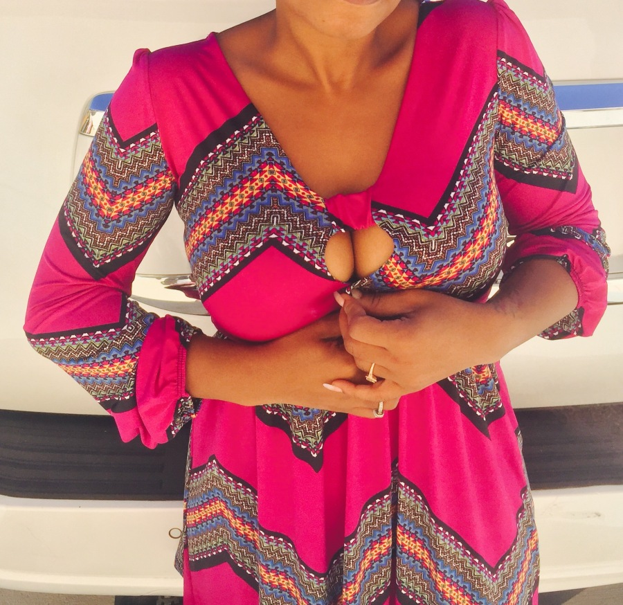 hot pink keyhole front dress with bold print blue labels boutique