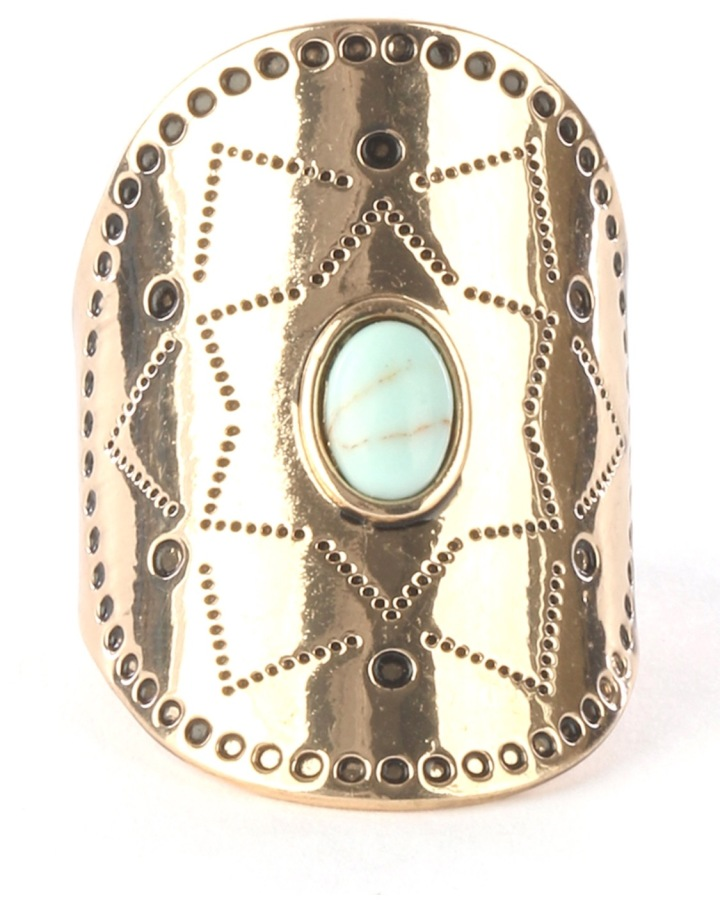 turquoise ancient inspired cuff ring