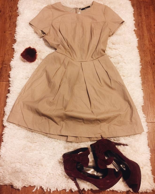 tan leather dress burgundy suede heels burgundy puff keychain