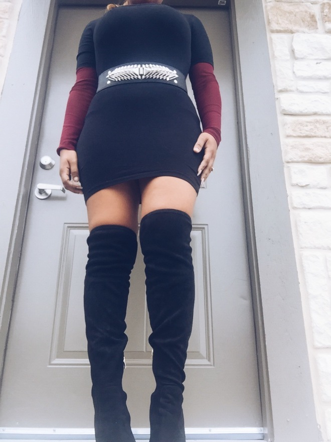 thigh high boots with black dress