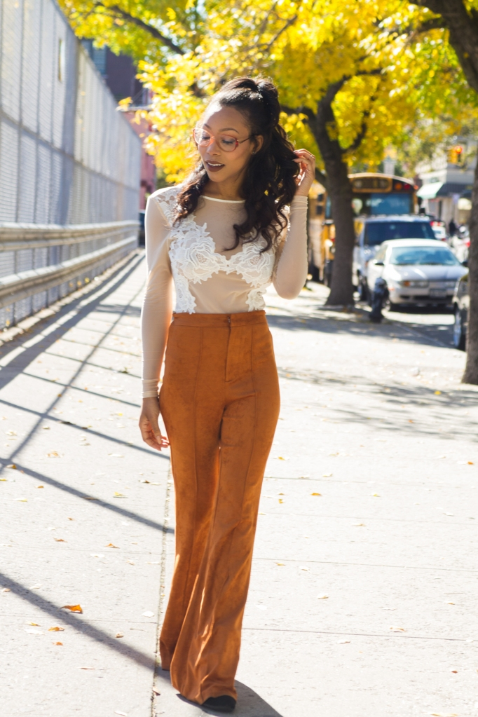 suede rust trousers with sheer bodysuit