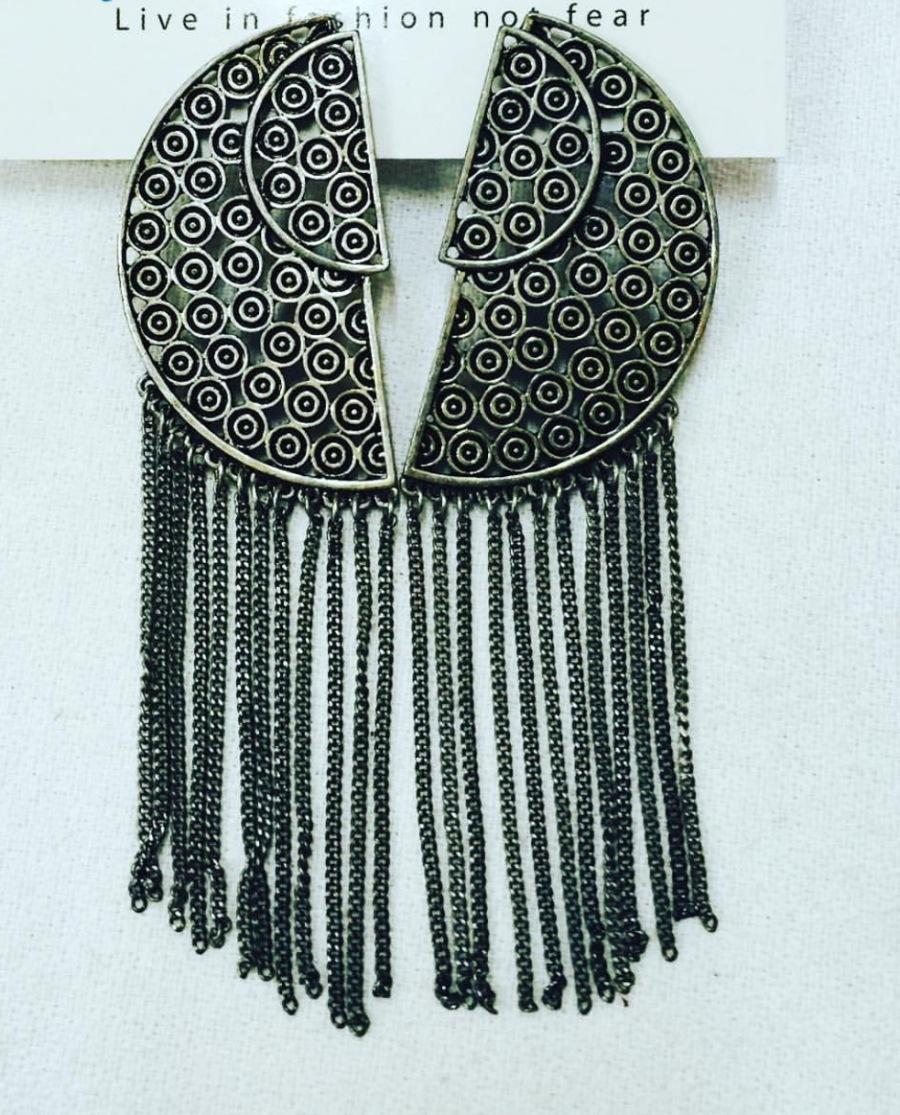 silver fringe earrings blue labels boutique