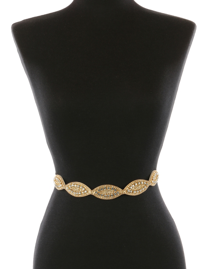 gold oval shaped belt blue labels boutique