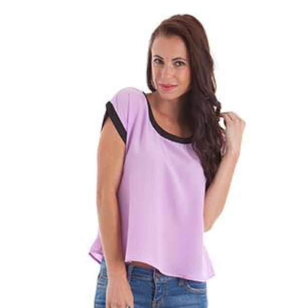 womens purple top with open tie back