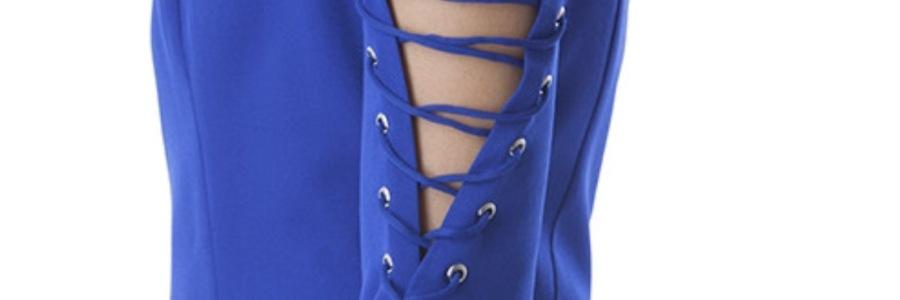 blue tie up sleeve dress blue labels boutique