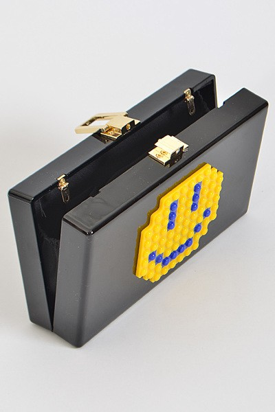leggo smiley face clutch bag