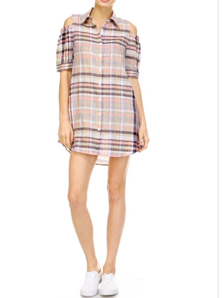 plaid mini dress blue labels boutique