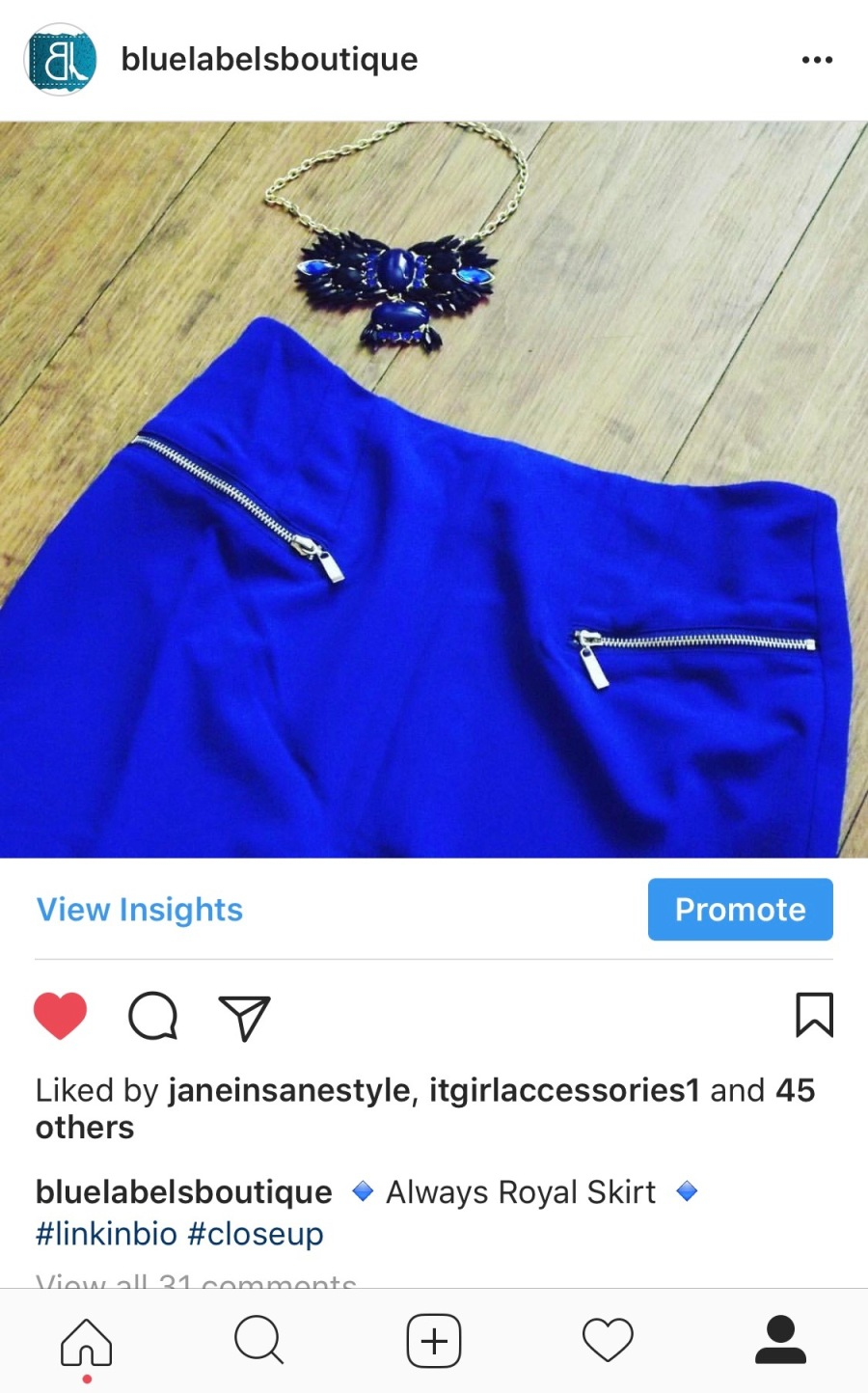 royal blue skirt with zippers