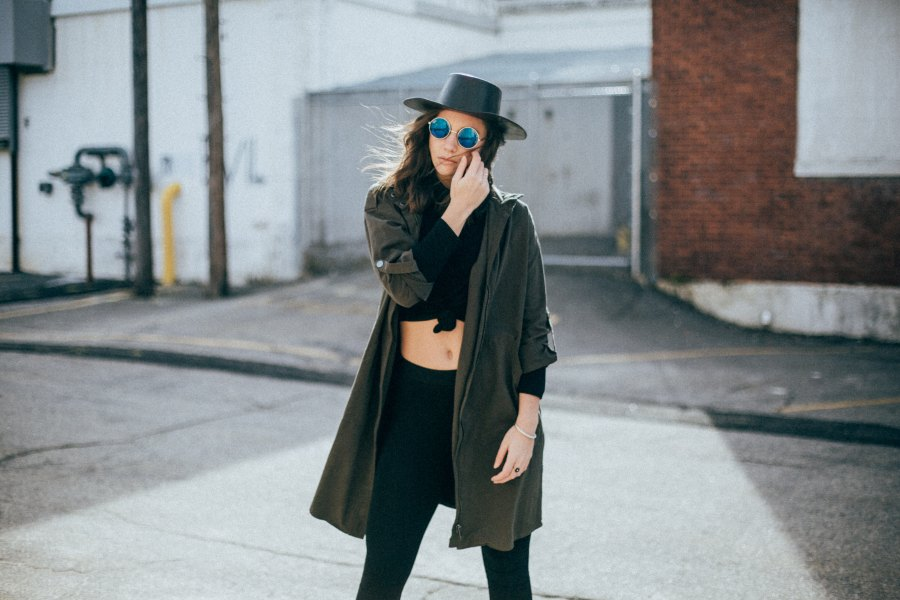 girl wearing sunglasses and crop fashion not fear
