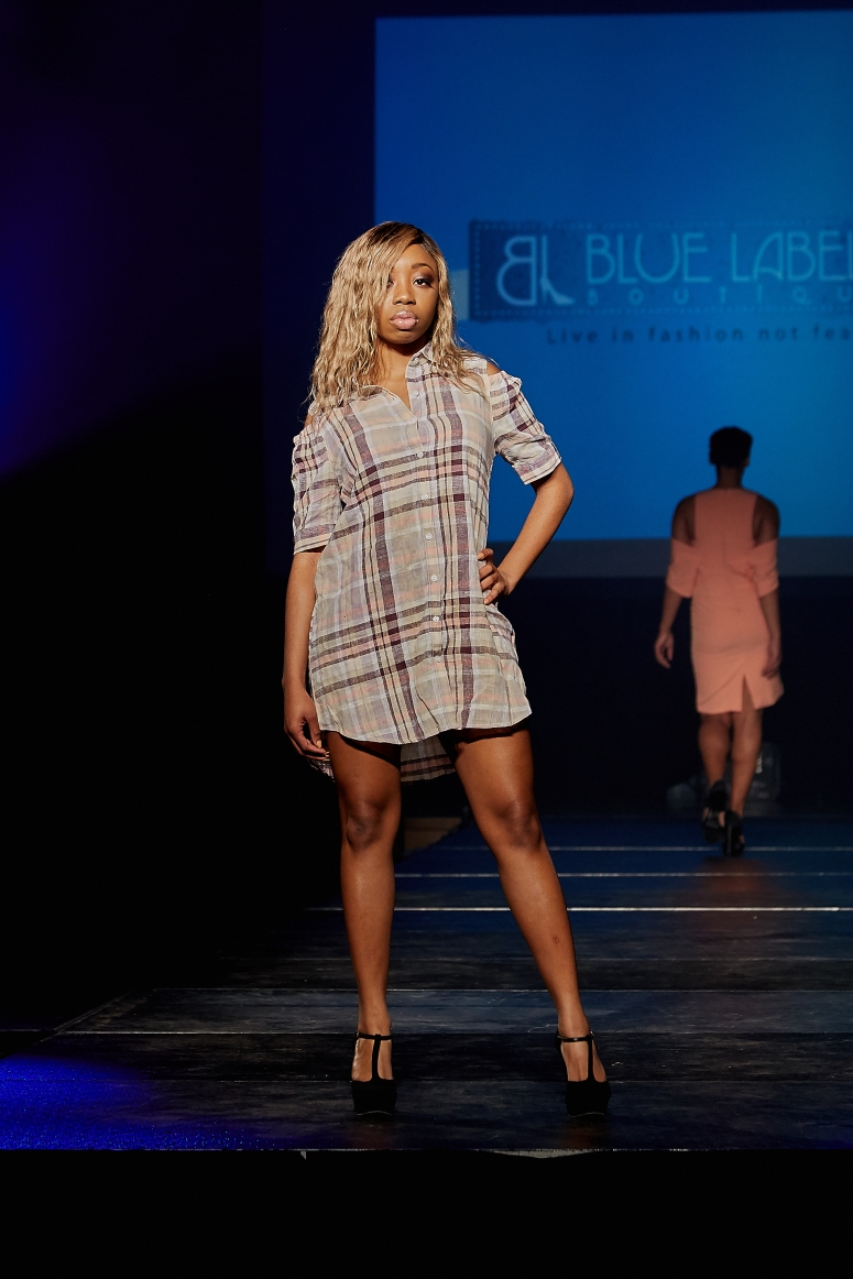 plaid off shoulder dress button front blue labels boutique