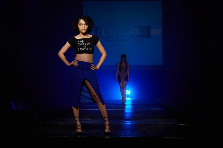 the female is future top royal blue zipper skirt blue labels boutique
