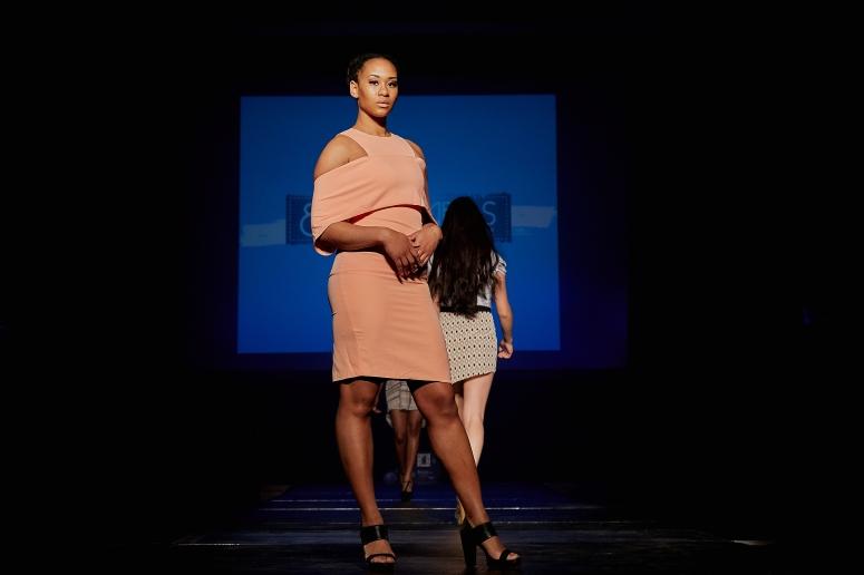 peach off the shoulder dress blue labels boutique