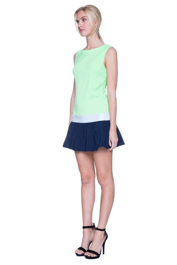 lime, navy & white colorblock tennis dress blue labels boutique