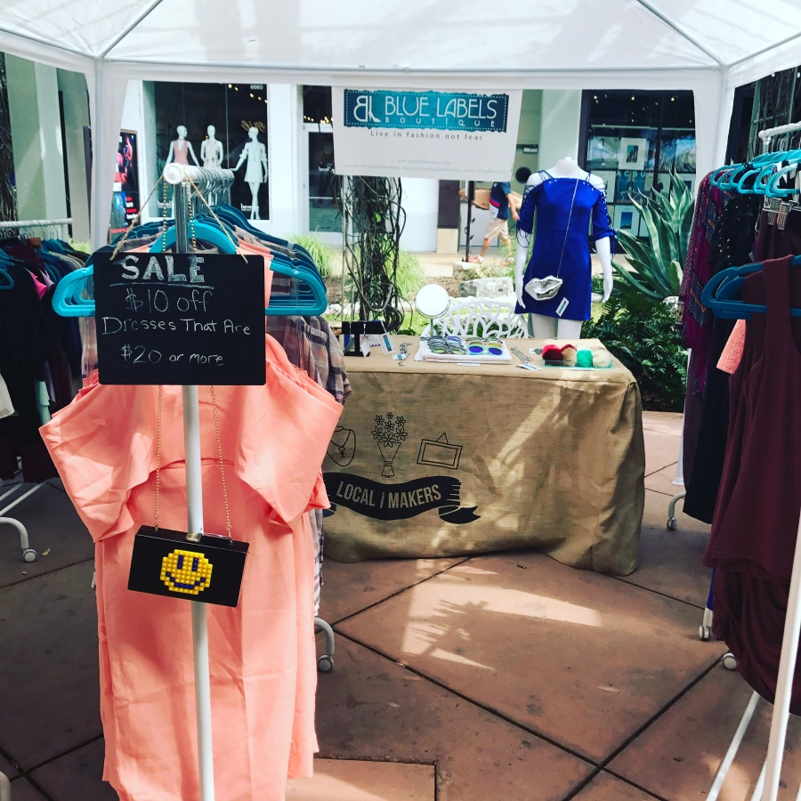 pictures of the blue labels boutique pop up shop at the shops at la cantera