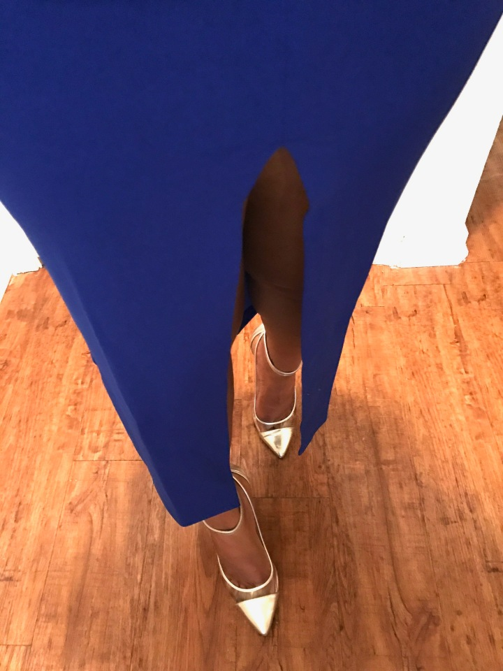 royal blue skirt with high slit blue labels boutique