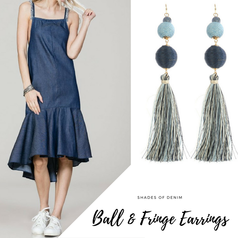 denim dress and ball fringe earrings blue labels boutique
