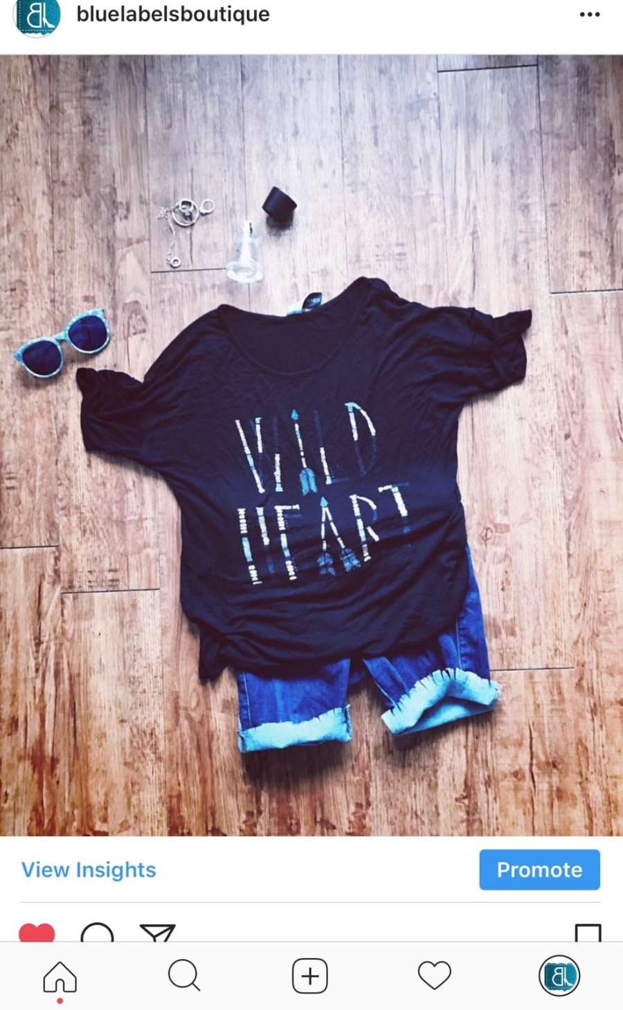 denim cutoffs, tees, sunglasses, blue labels boutique