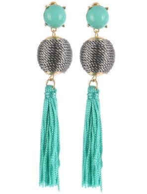 gemstone ball fringe earrings blue labels boutique