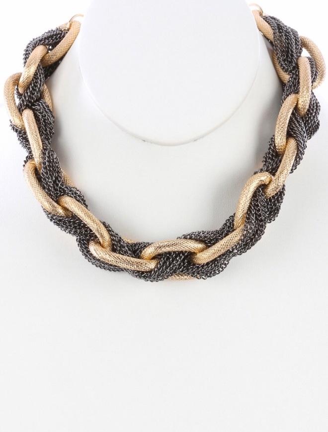 mixed metal necklace blue labels boutique