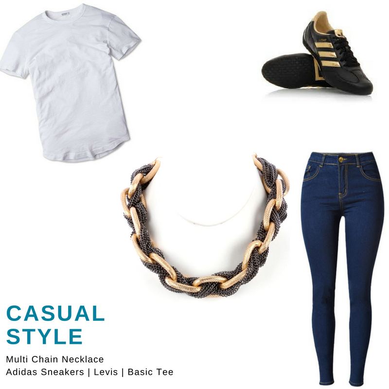 white tee, denim jeans, adidas sneakers, multi chain necklace blue labels boutique