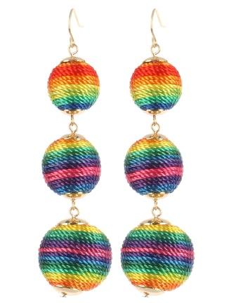 rainbowballtrioearrings
