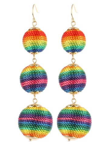 rainbowballtrioearrings