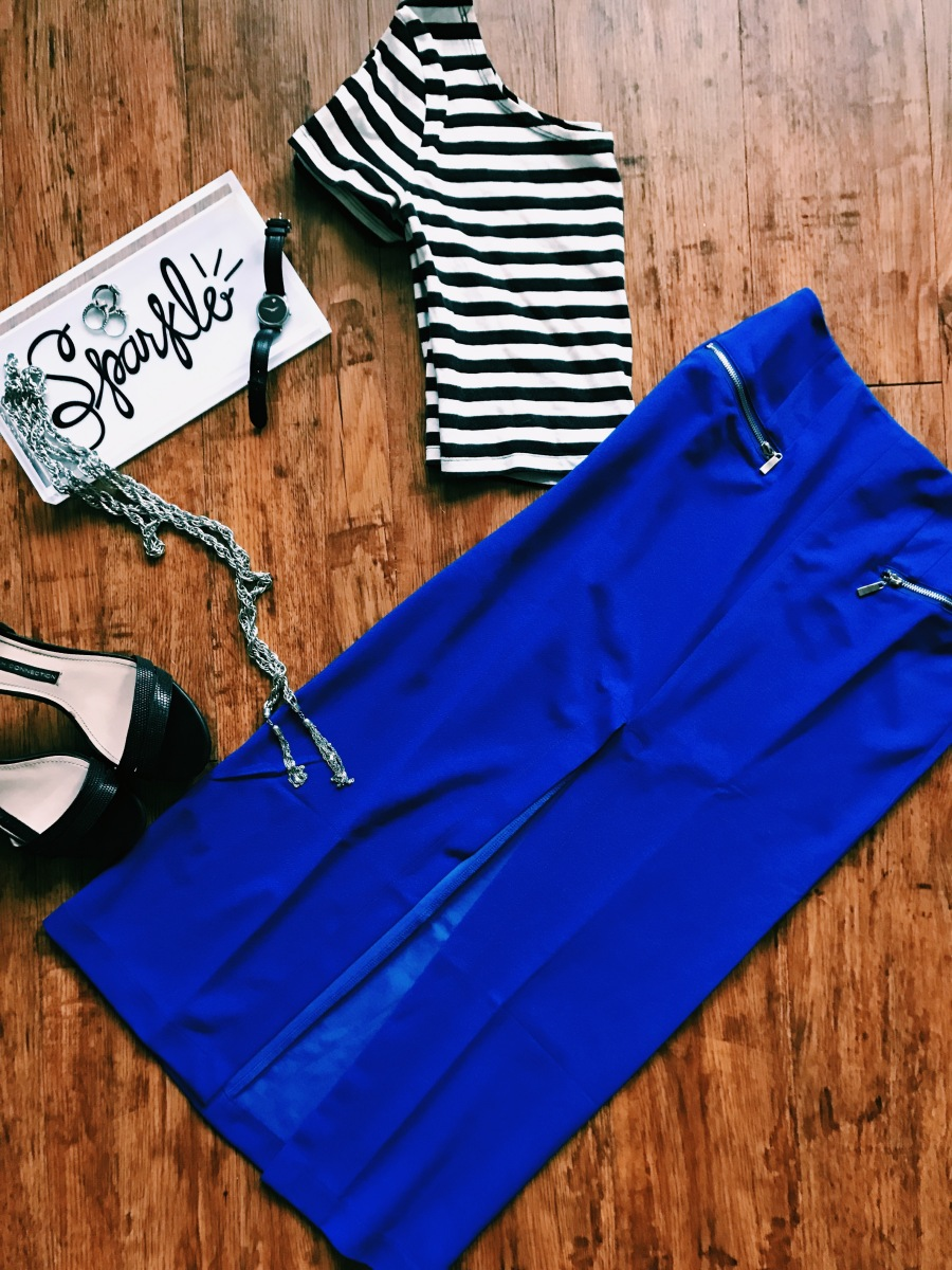 Always Royal Skirt | French Connection Heels | Movado Watch | BLB Accessories