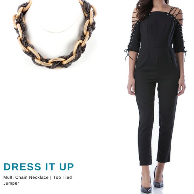black jumper, multi chain necklace blue labels boutique