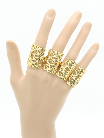 4 piece gold knuckle ring set blue labels boutique