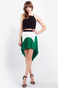 colorblock pleated skirt blue labels boutique