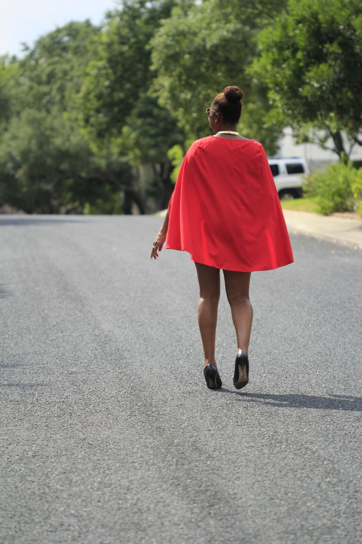 red cape dress from blue labels boutique