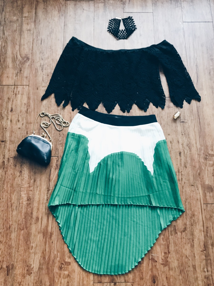 green colorblock outfit with off the shoulder top