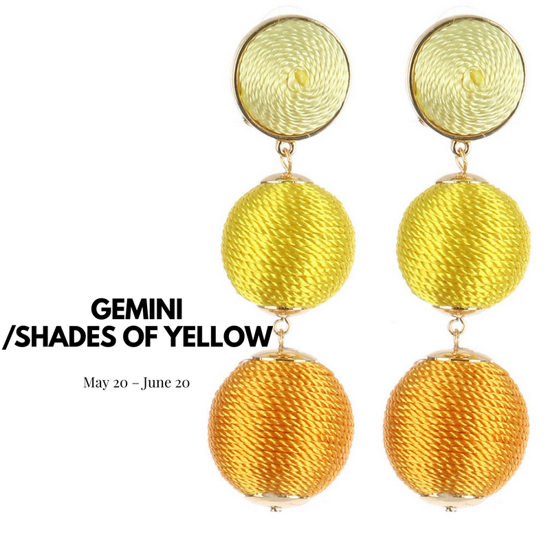 yellow cord wrap ball earrings blue labels boutique