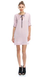 pink-black-satin-shift-dress blue labels boutique