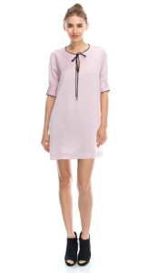pink-black-satin-shift-dress blue labels boutique
