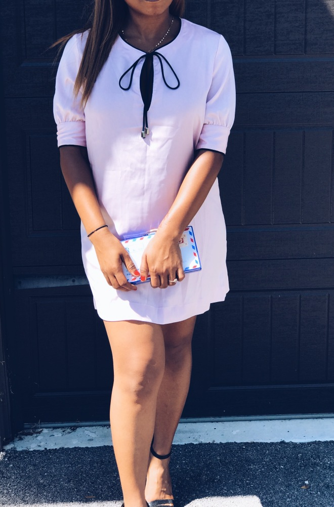 satin pink shift dress with navy lining blue labels boutique