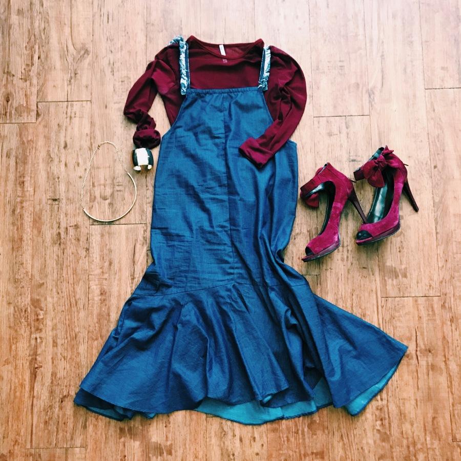 womens sheer top denim dress blue labels boutique