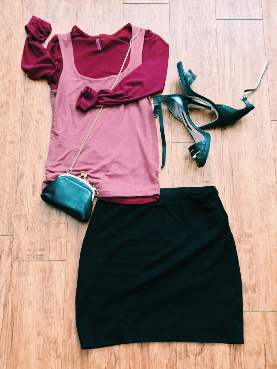 sheer top with tank and skirt