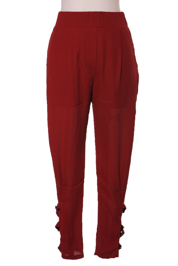 burgundy trousers with buckles at ankle, blue labels boutique