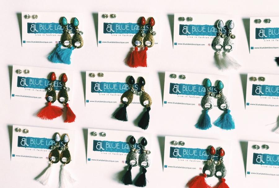 fringe gemstone dangle earrings blue labels boutique